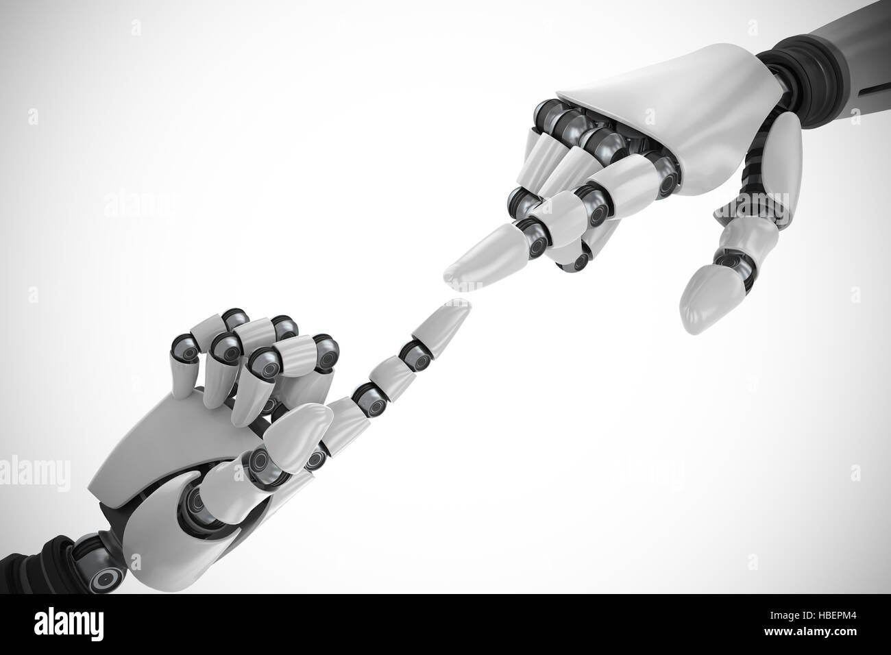 Composite image of white robot arm pointing at something - Stock Image