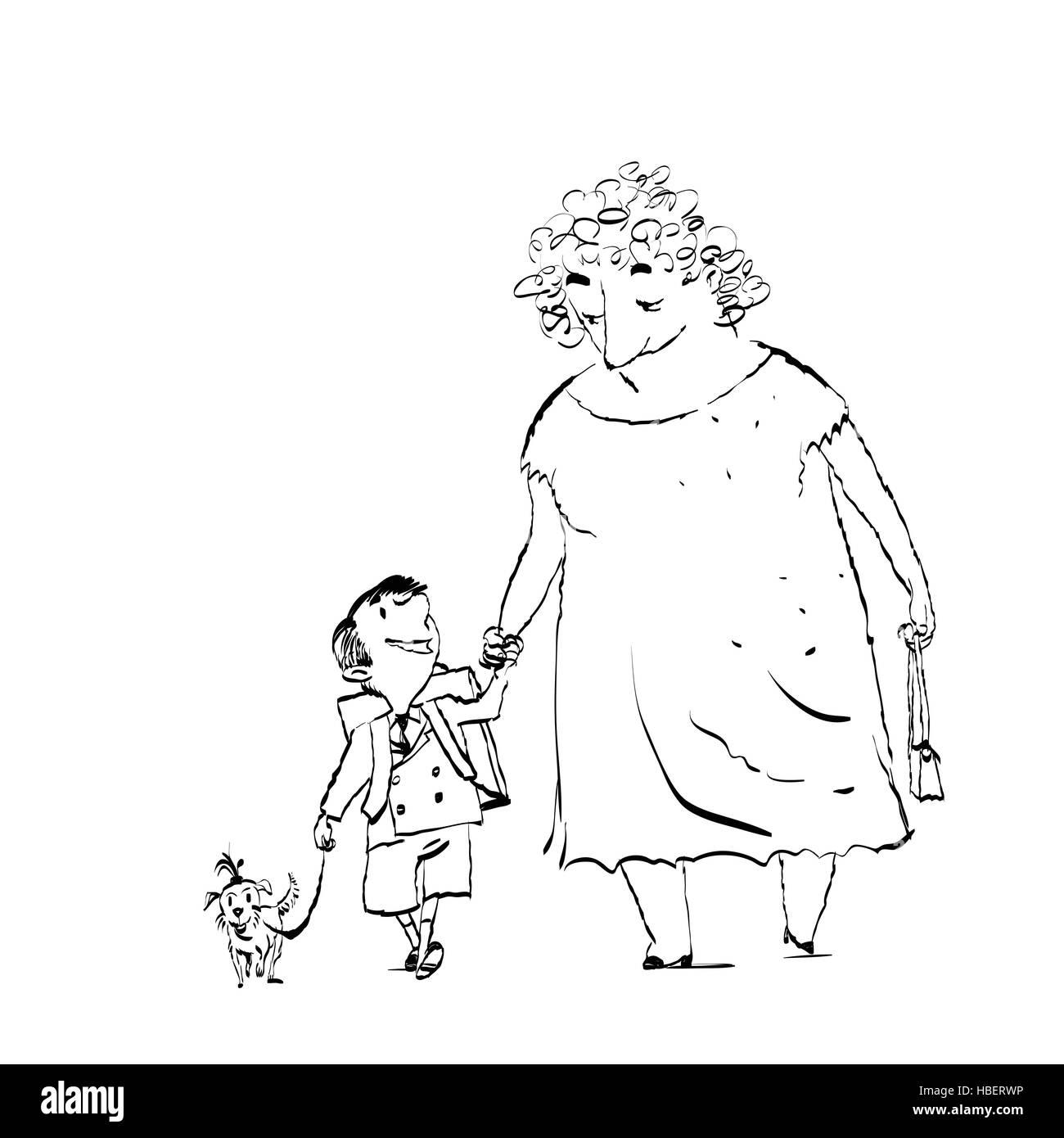 Grandma, grandson and dog on a walk - Stock Vector