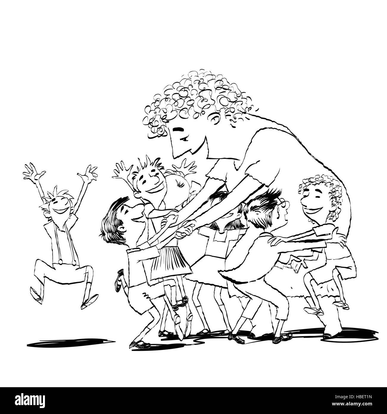 Children and nanny or teacher - Stock Vector