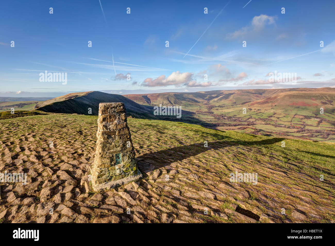 A Triangulation station, or Trig Point at the top of Mam Tor in the Peak District, Derbyshire, UK - Stock Image