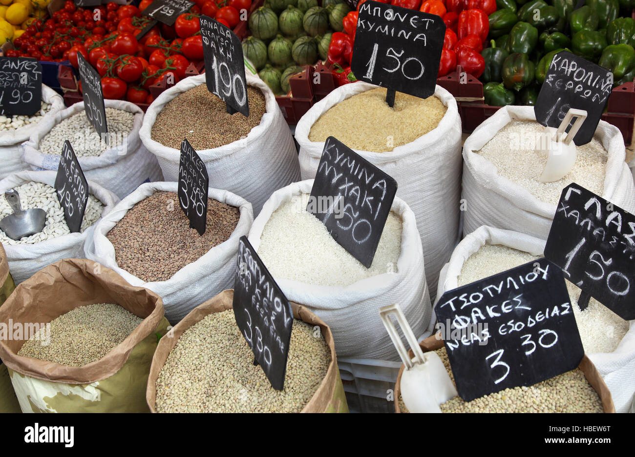 Grains sacks Stock Photo