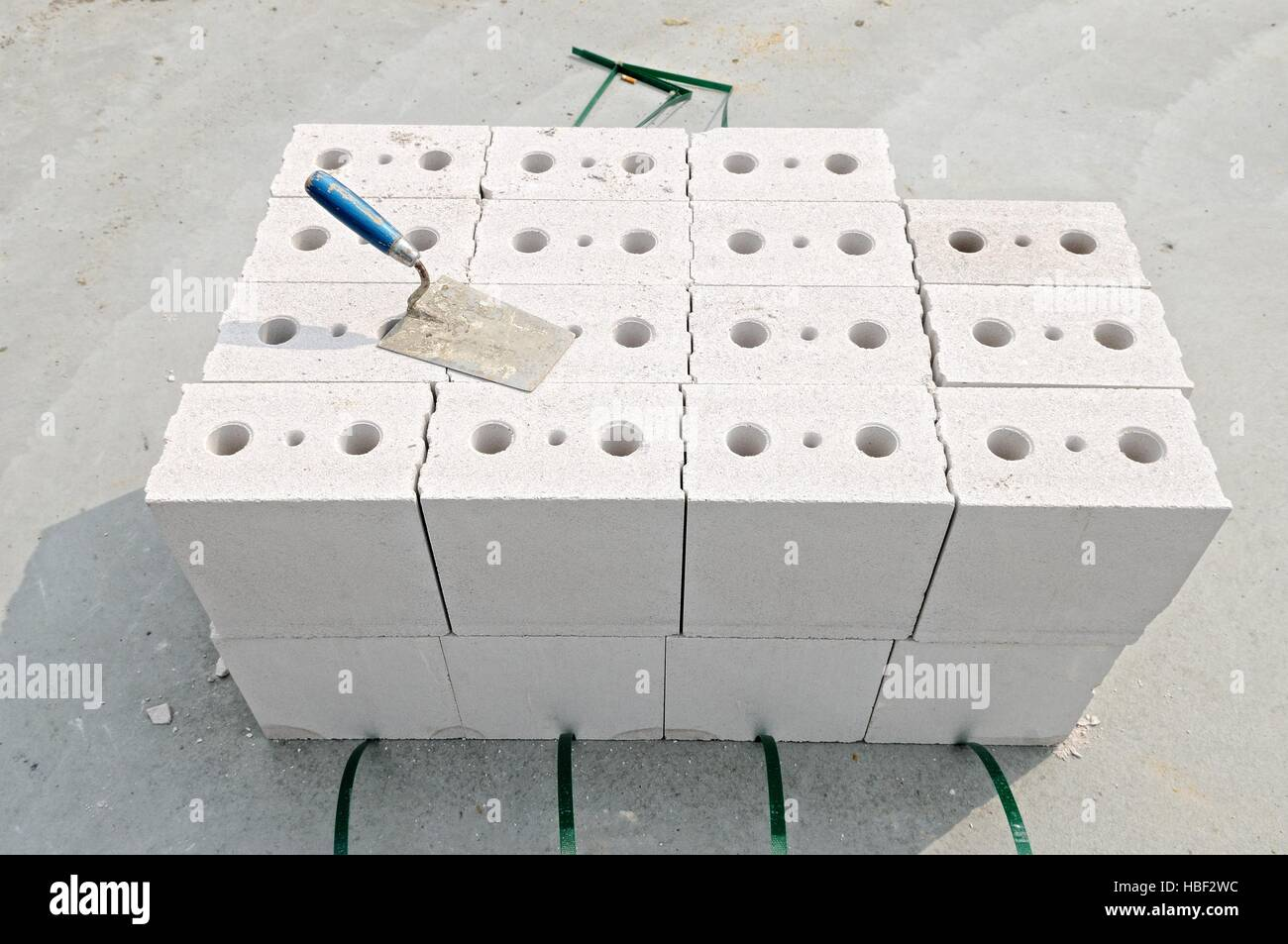 Calcium Silicate Brick : Calcium silicate bricks ready to wall up stock photo