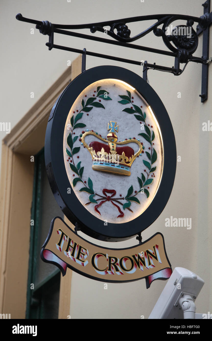 Pub sign at the famous Crown Liquor Saloon in Belfast - Stock Image