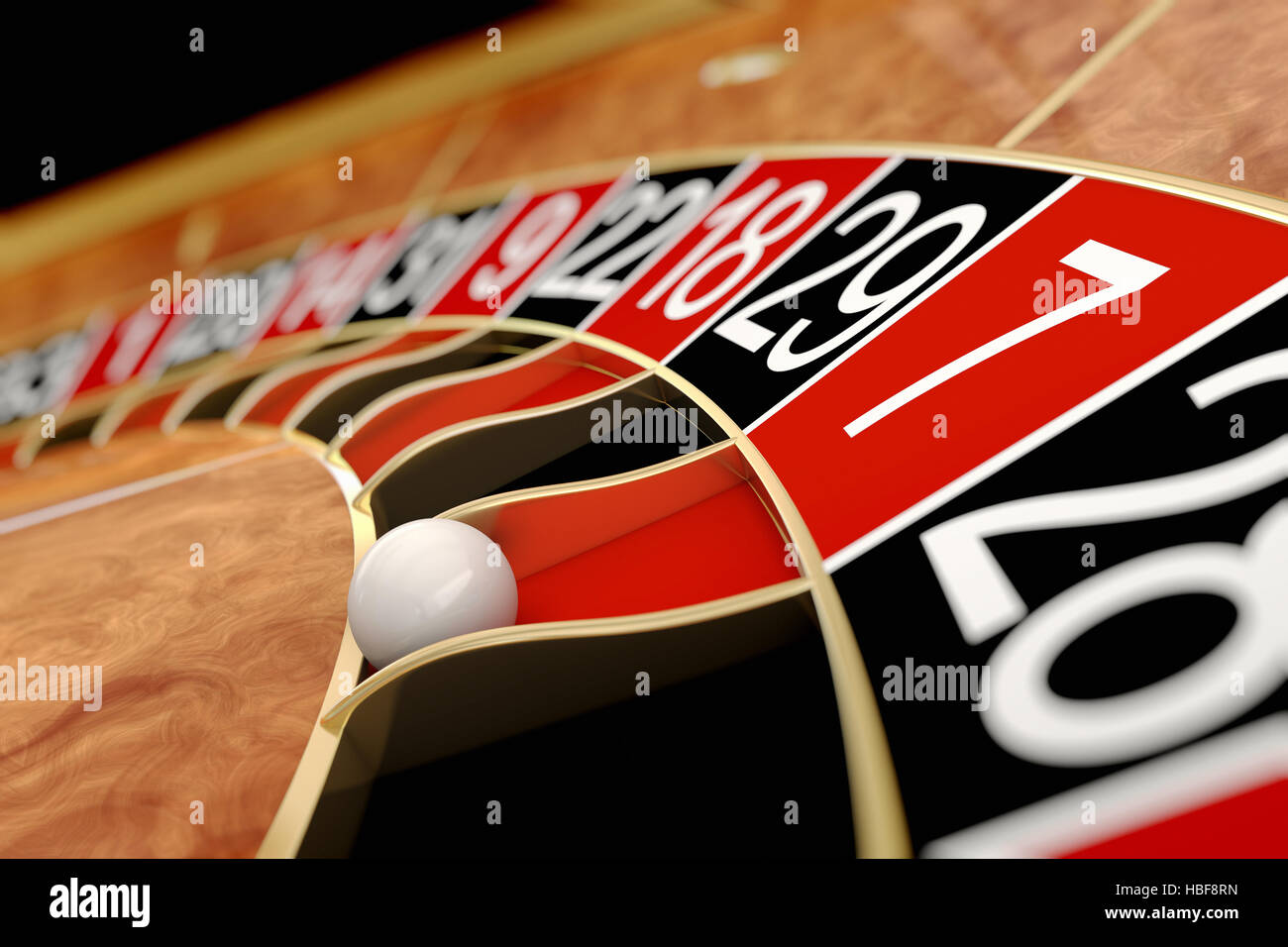 Casino roulette. Seven red - Stock Image