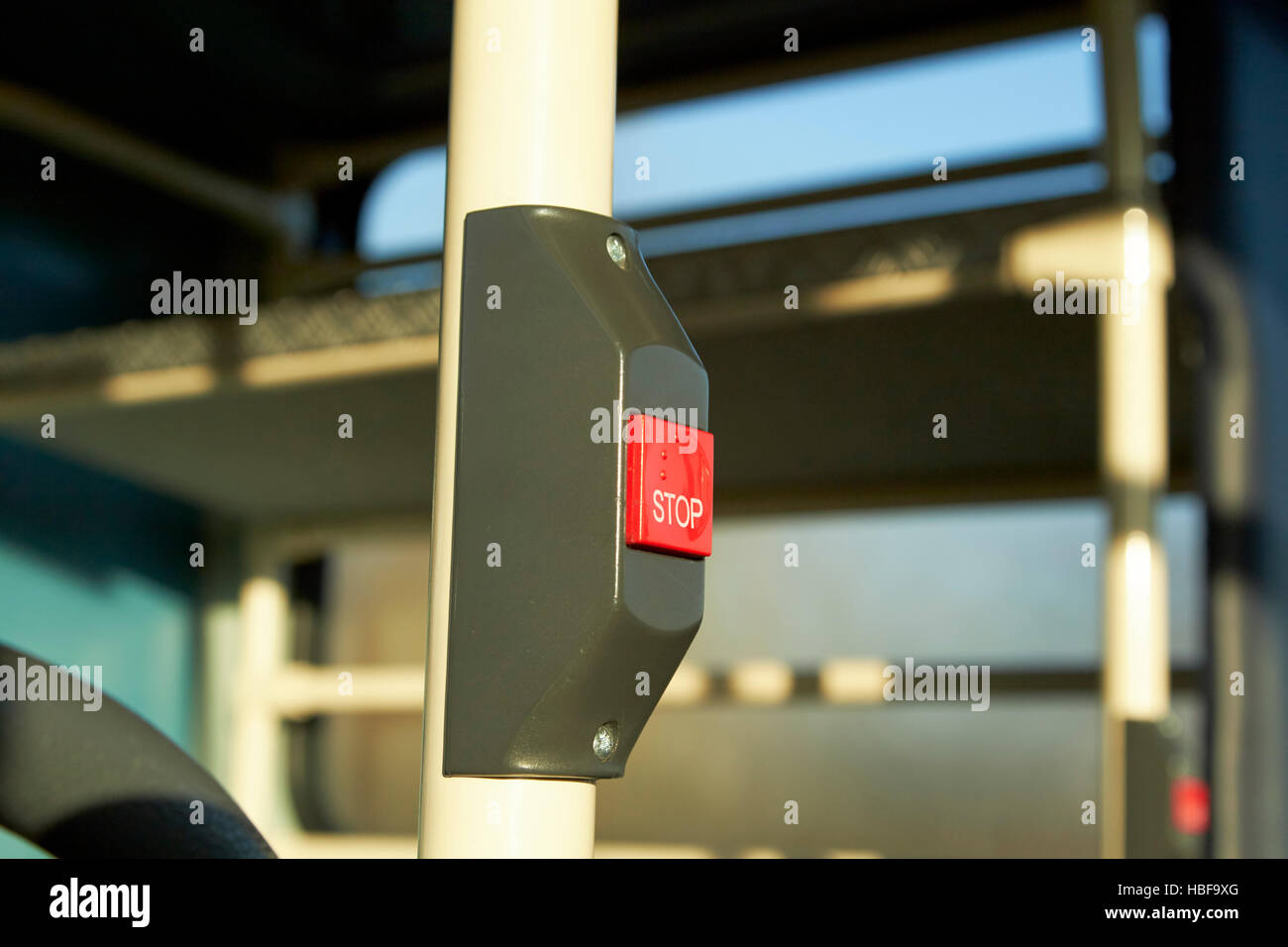 red request stop push button with braille - Stock Image