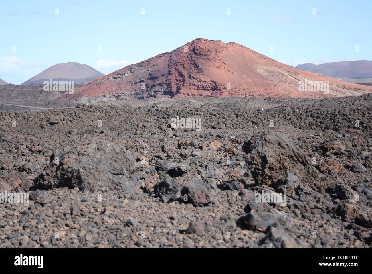 Lanzarote, volcano landscape with lava - Stock Image