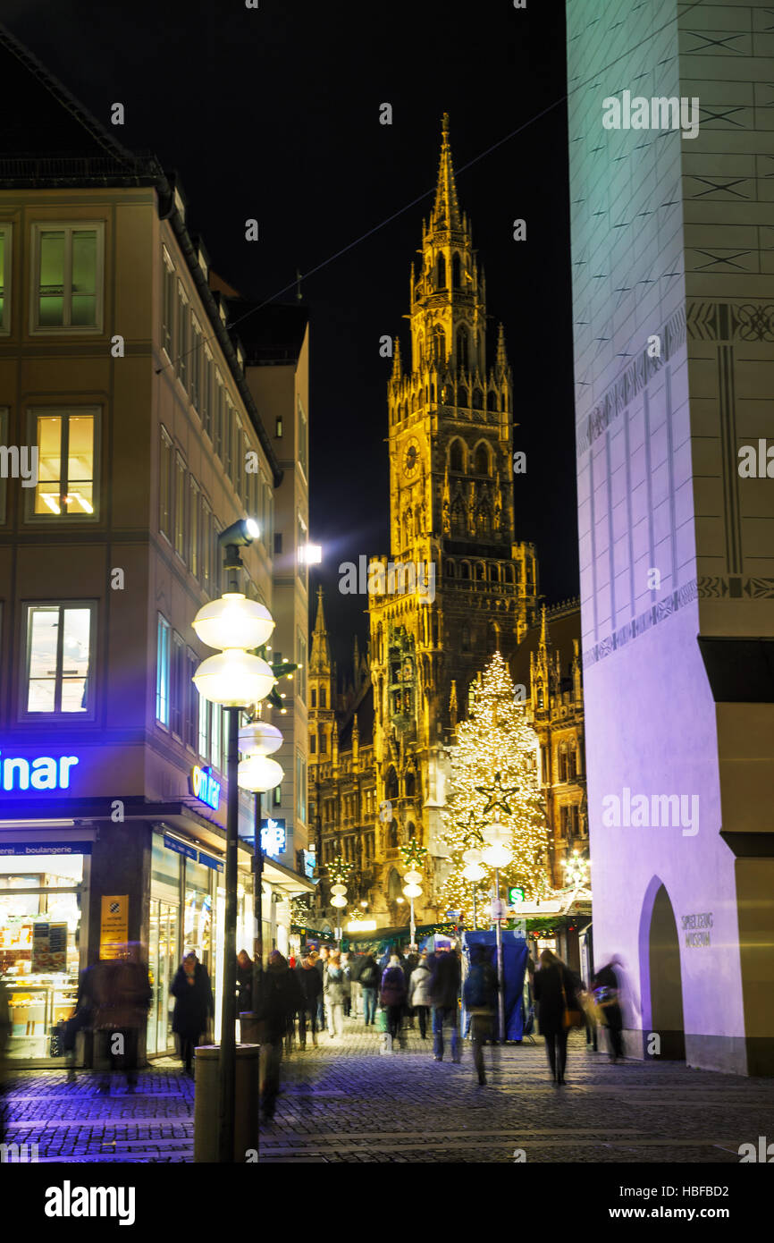 MUNICH - NOVEMBER 30: Overview of Marienplatz with people on November 30, 2015 in Munich. It's the 3rd largest city Stock Photo