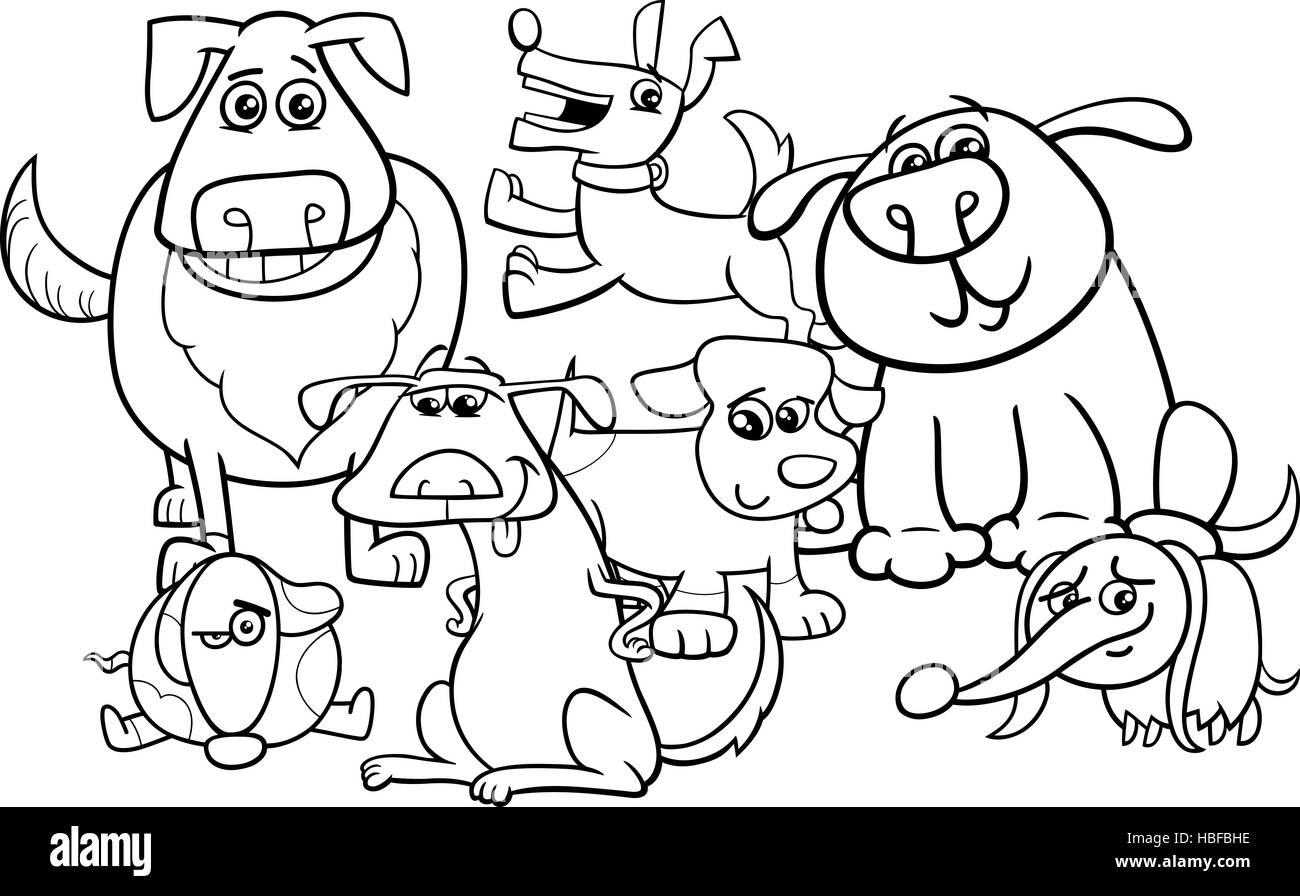 dogs cartoon coloring book Stock Photo: 127572186 - Alamy