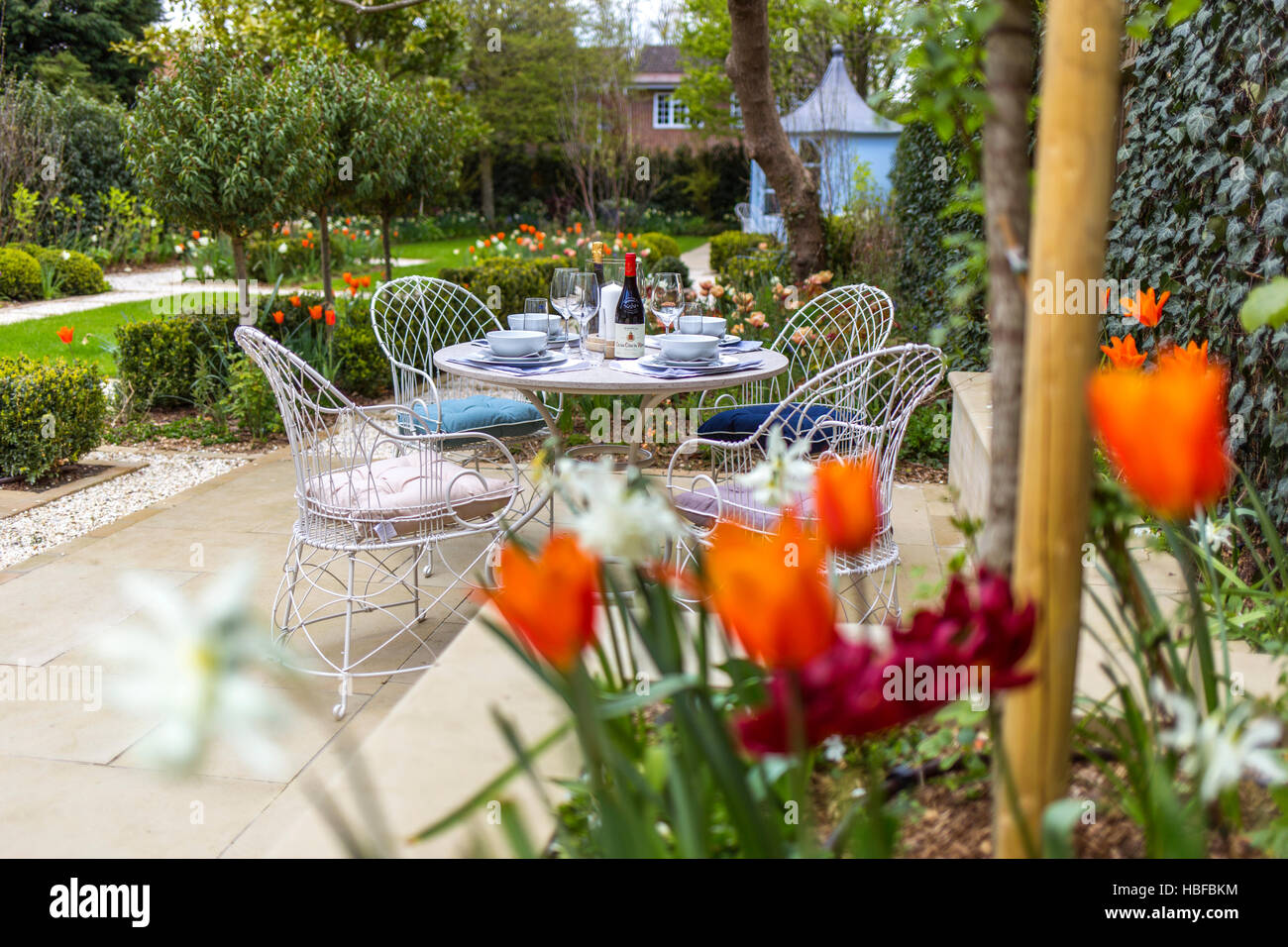 Romantic garden in Surrey - Stock Image