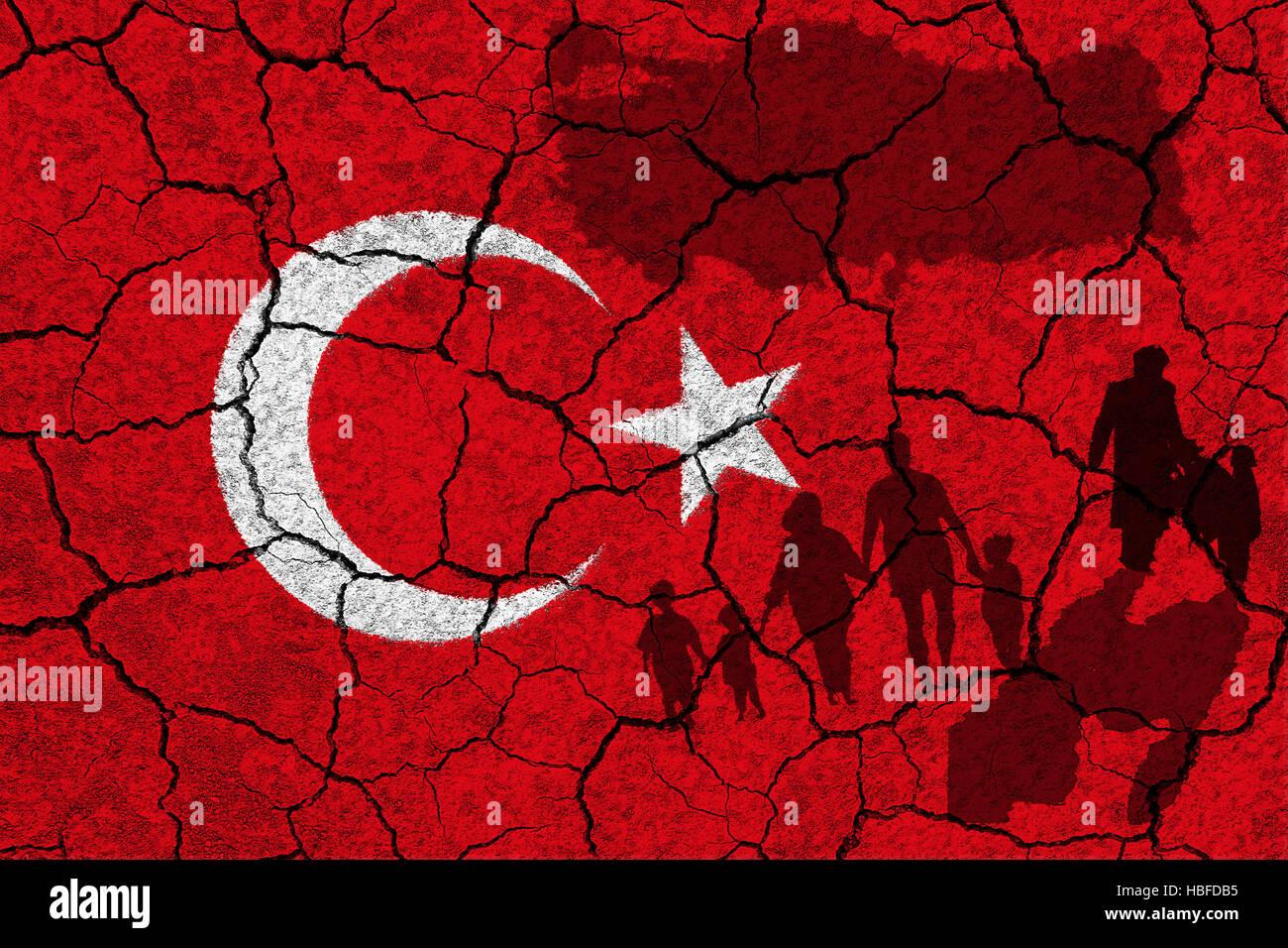 Turkey flag and refugees - Stock Image
