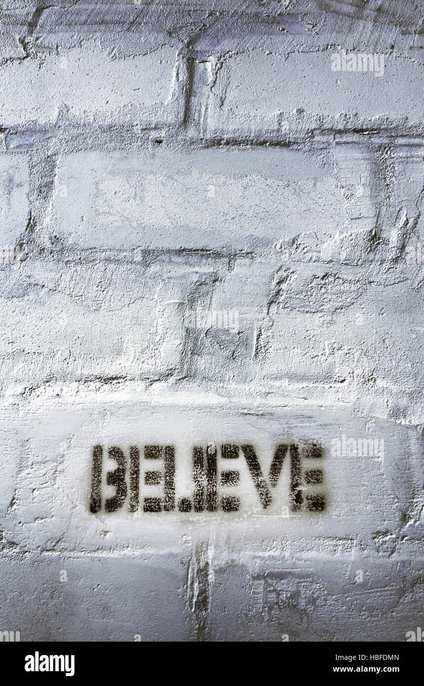 believe word - Stock Image