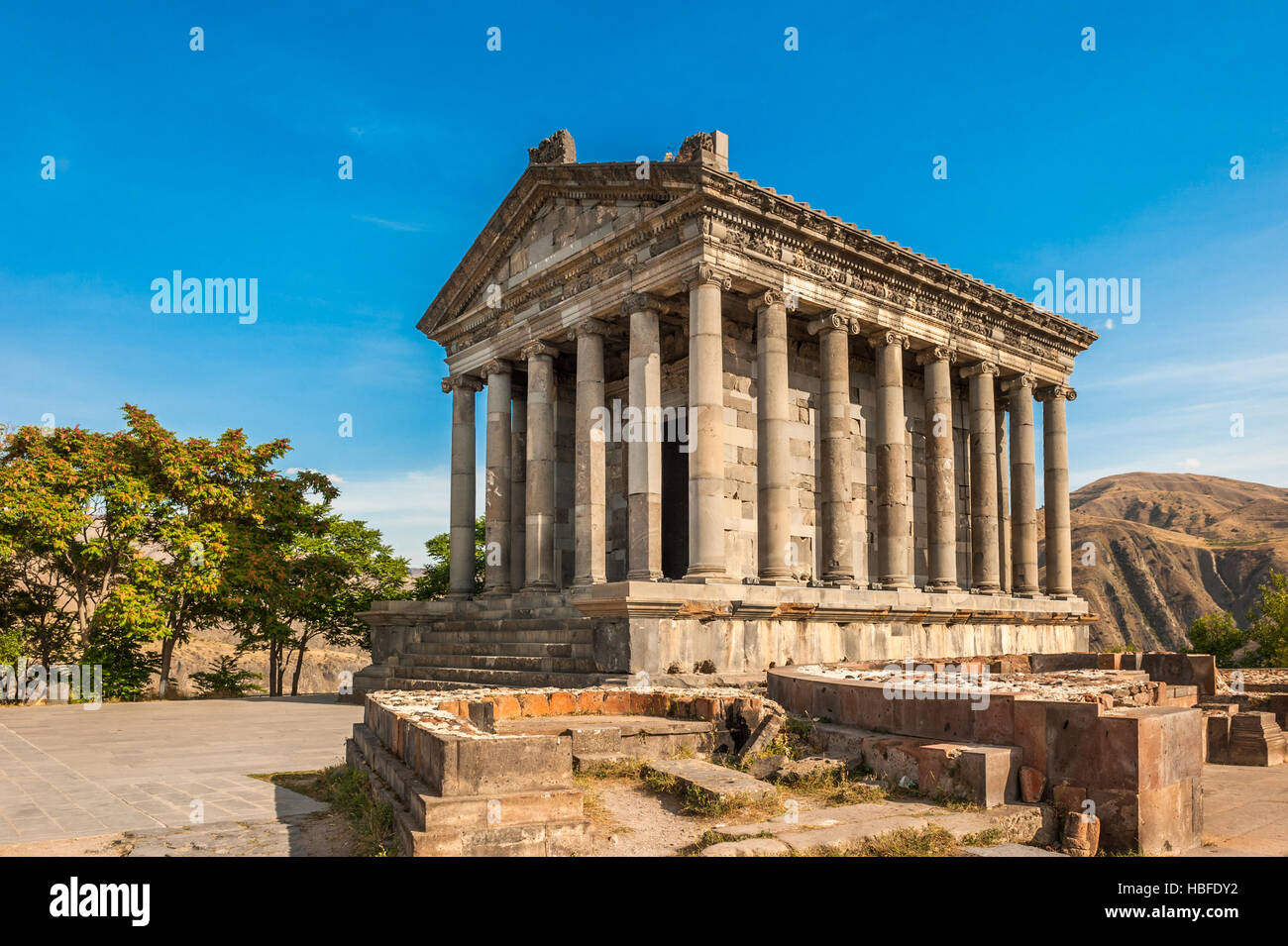 The Hellenic temple of Garni in Armenia - Stock Image