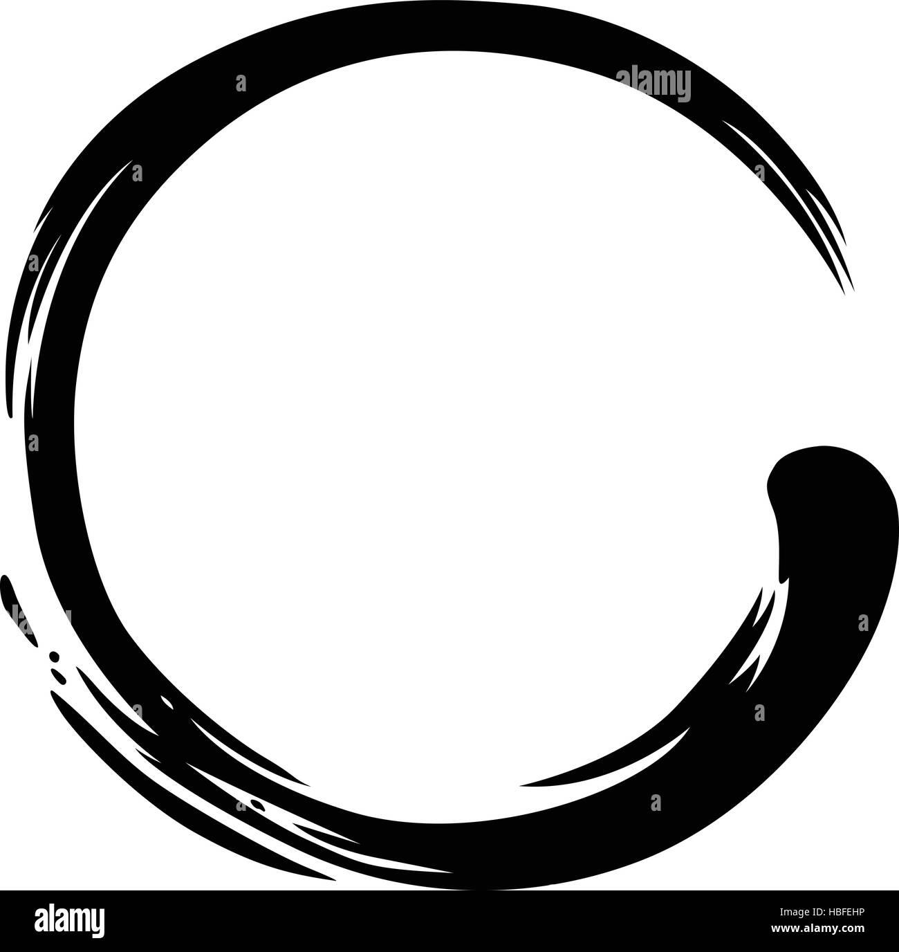 Black Enso Zen Circle Vector Illustration - Stock Image