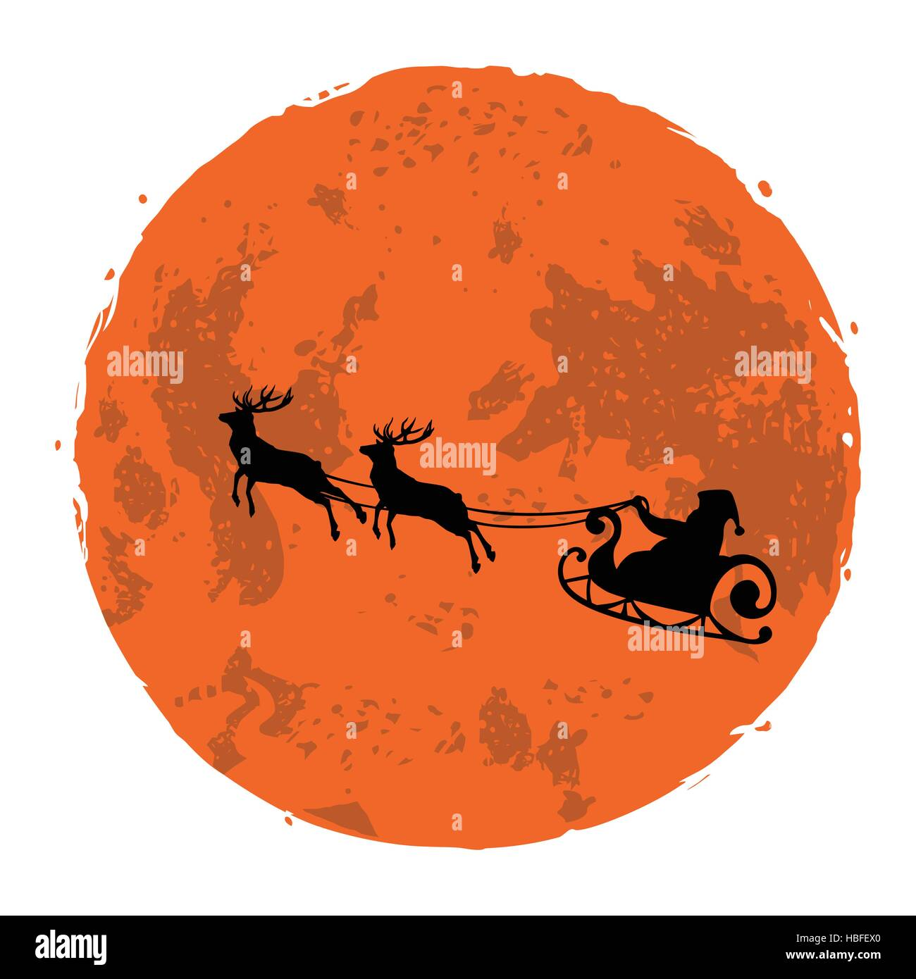 Christmas Illustration of Santa and His Reindeer on Full Moon Background Vector - Stock Image