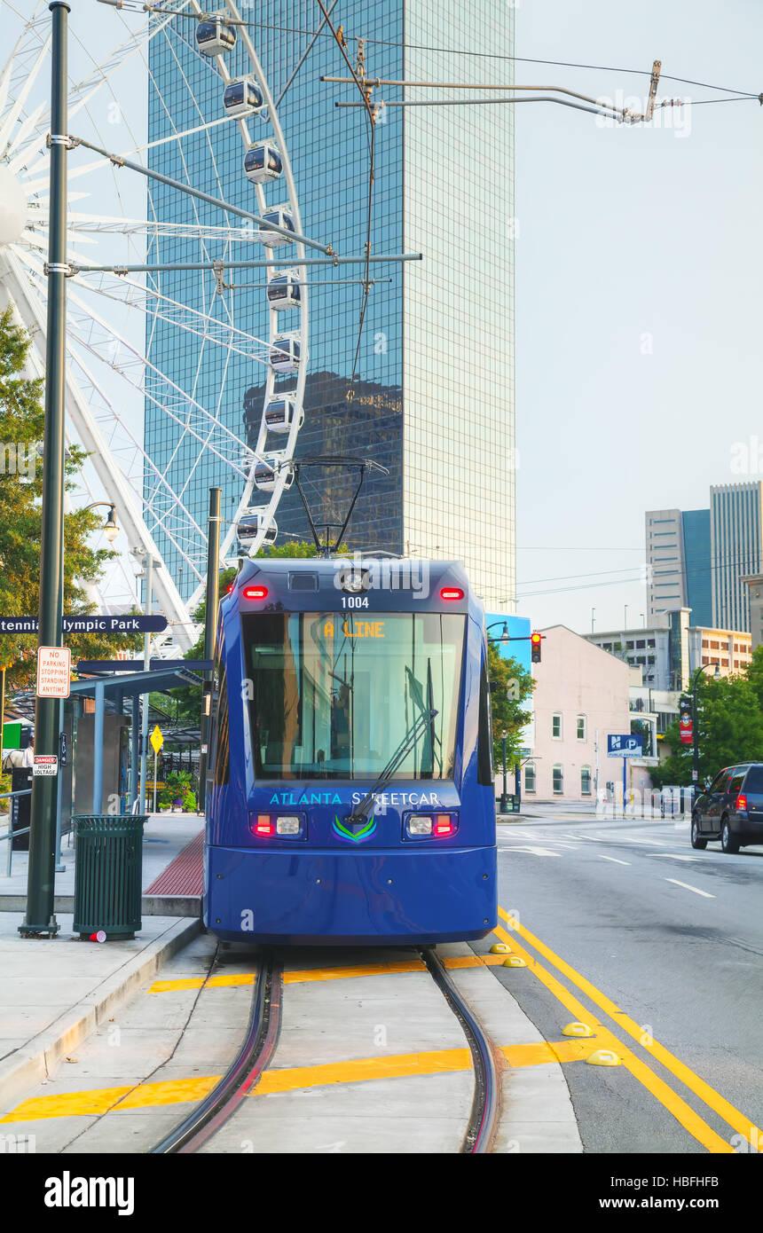 Street car near the Centennial Olympic park - Stock Image