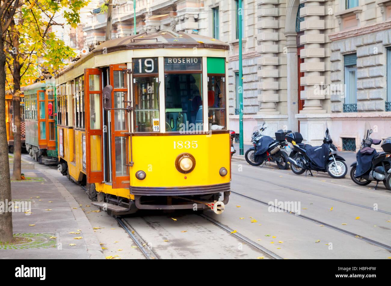 Old tram in Milan, Italy - Stock Image