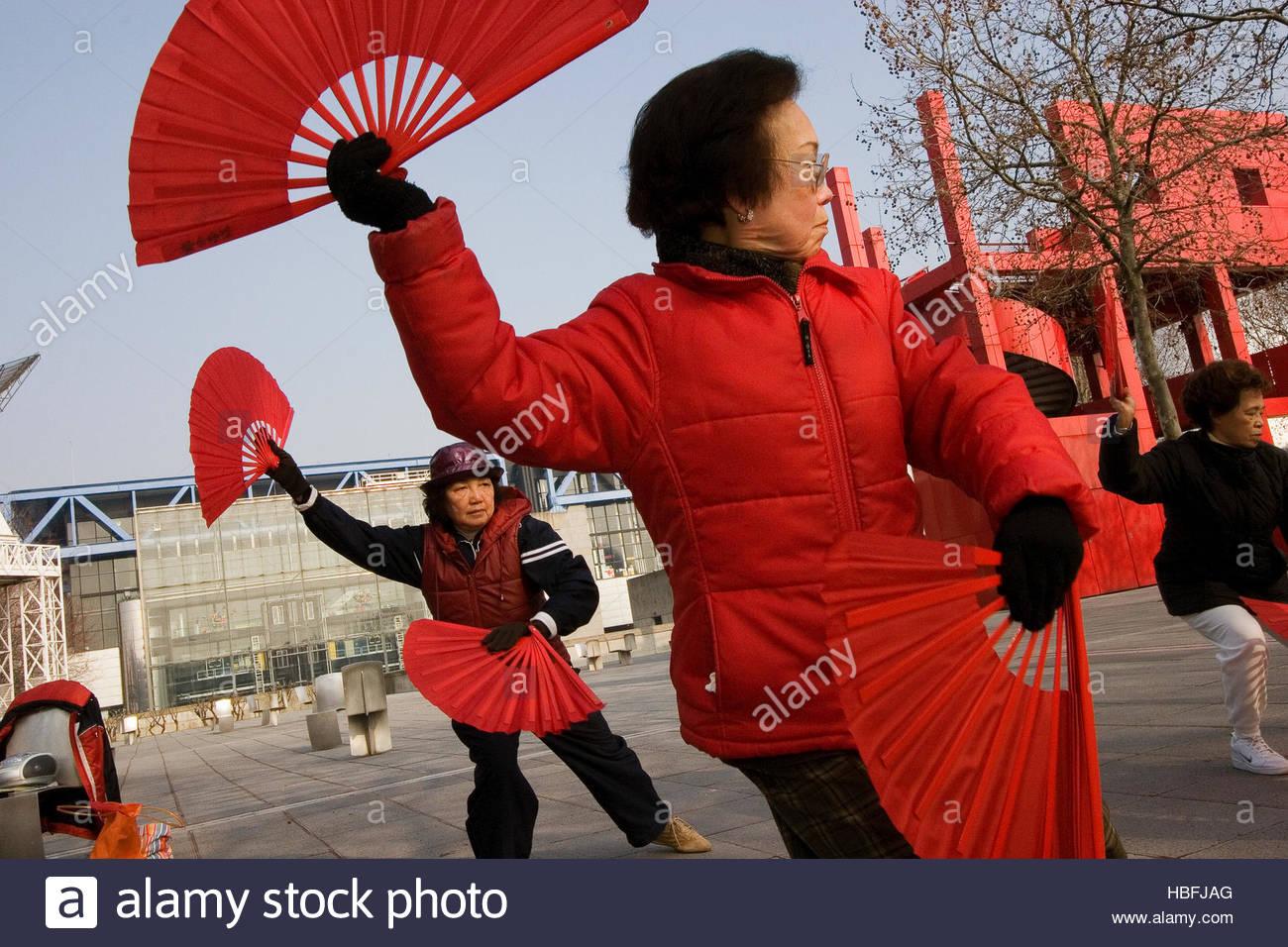 Members of the Asian community meet in Parc de la Villette to practice Tai Chi. - Stock Image