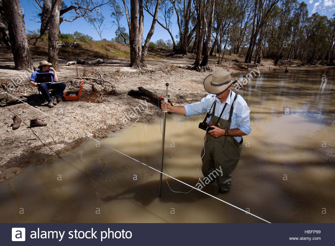 Water flow rates and levels on Broken Creek are measured. - Stock Image