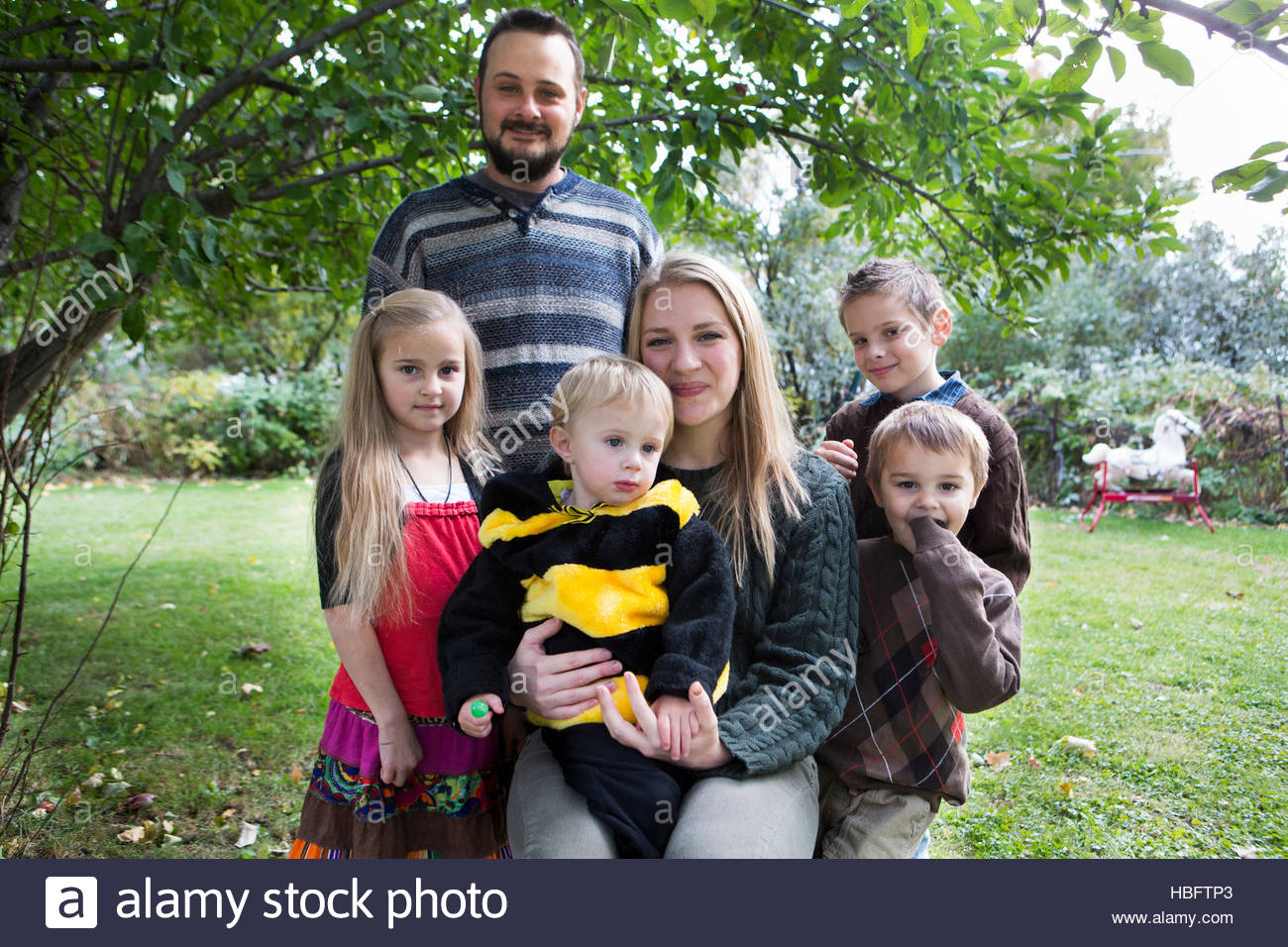 A family classified as food insecure. - Stock Image