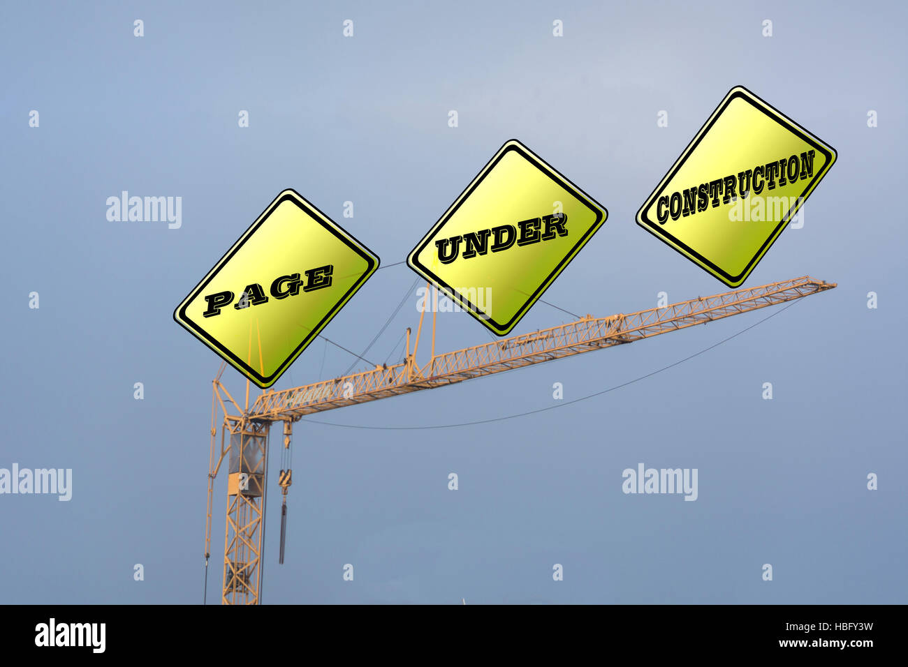 Crane labeled Page Under Construction - Stock Image