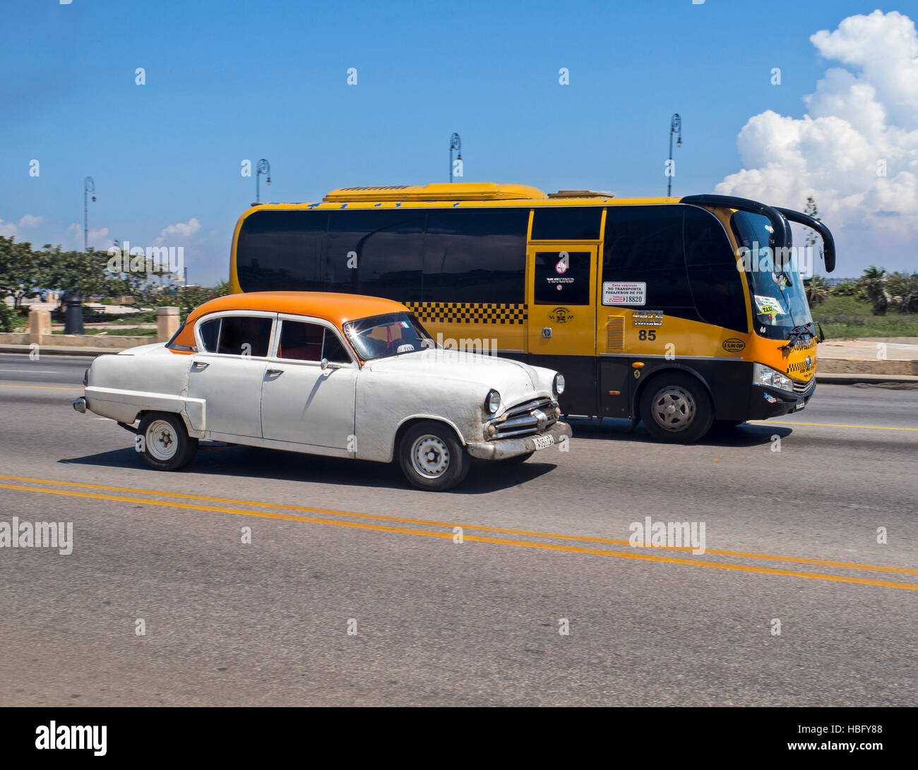 Red and white classic American car. Havana Cuba - Stock Image