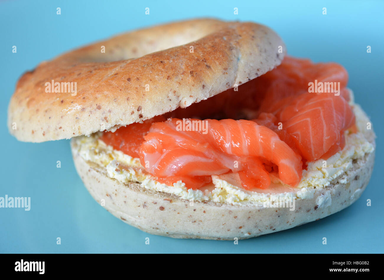 New York Salmon bagel served on a plate. Food background and texture. copy space Stock Photo