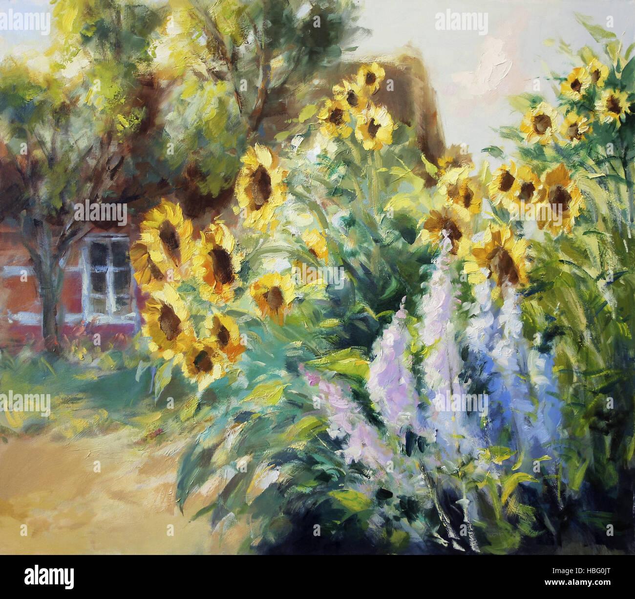rural motif painting - Stock Image