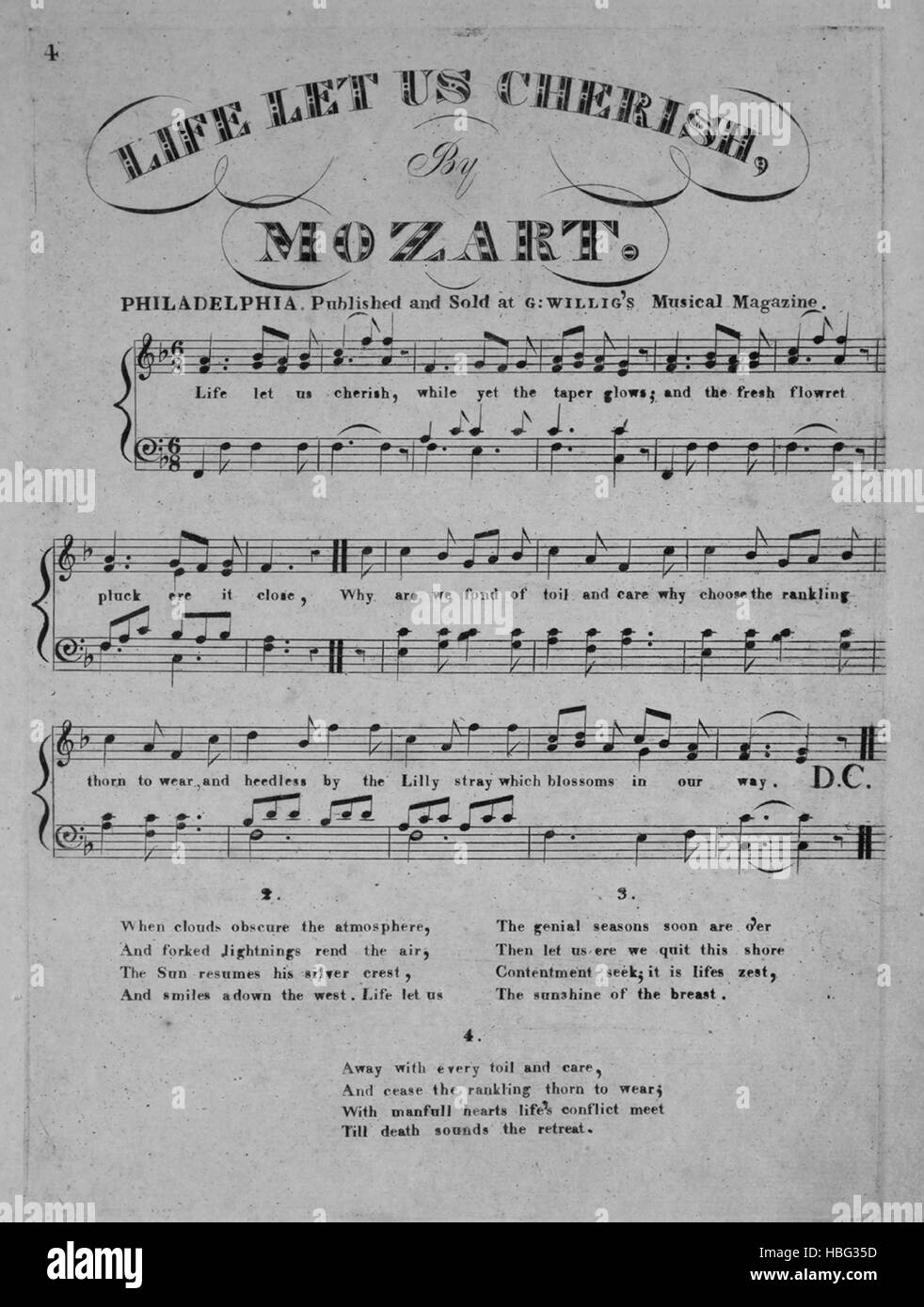 Sheet music cover image of the song 'Life Let Us Cherish (1) Song (2) With Variations by Mozart', with original - Stock Image