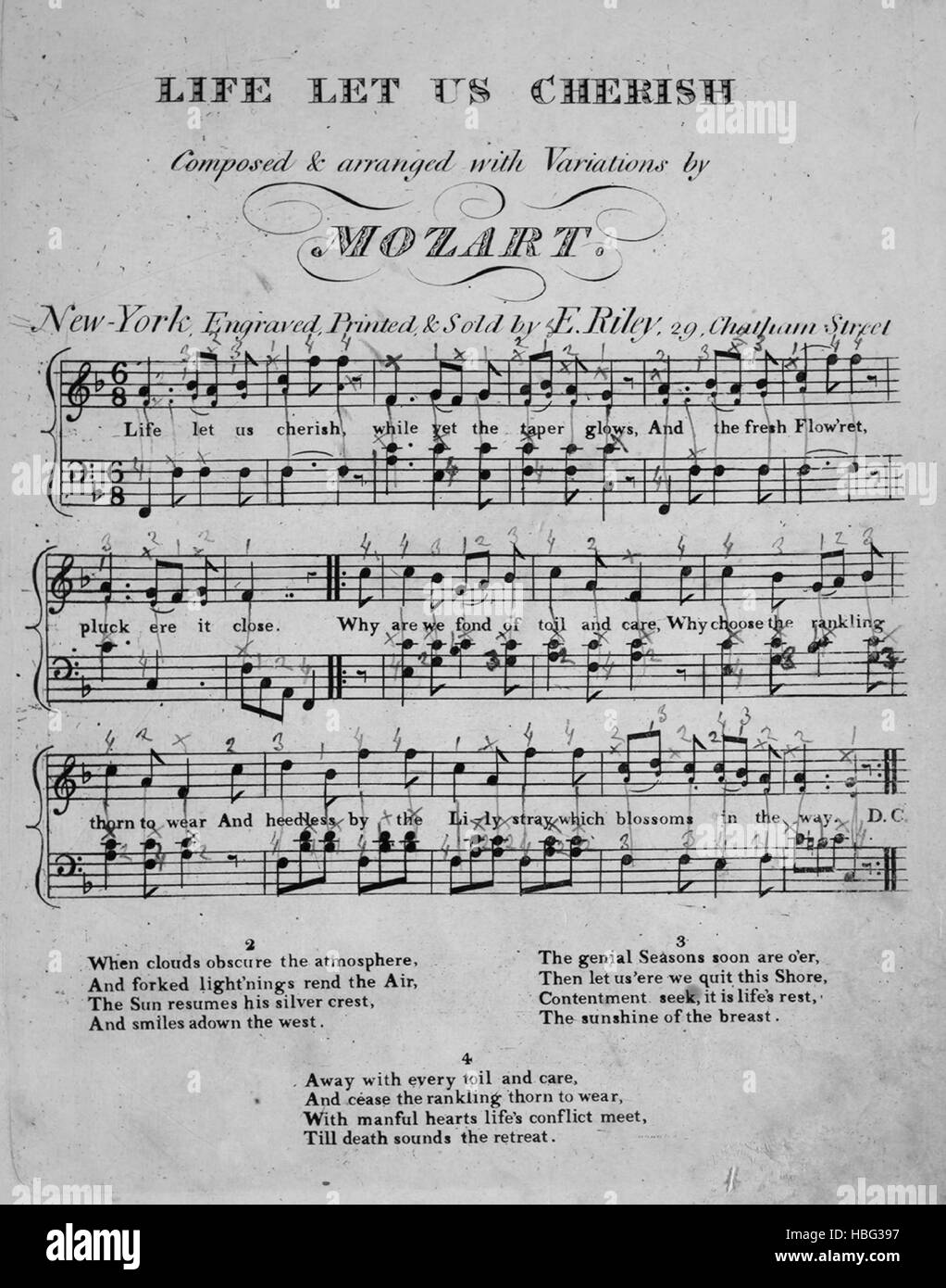 Sheet music cover image of the song 'Life Let Us Cherish Song', with original authorship notes reading 'Composed - Stock Image