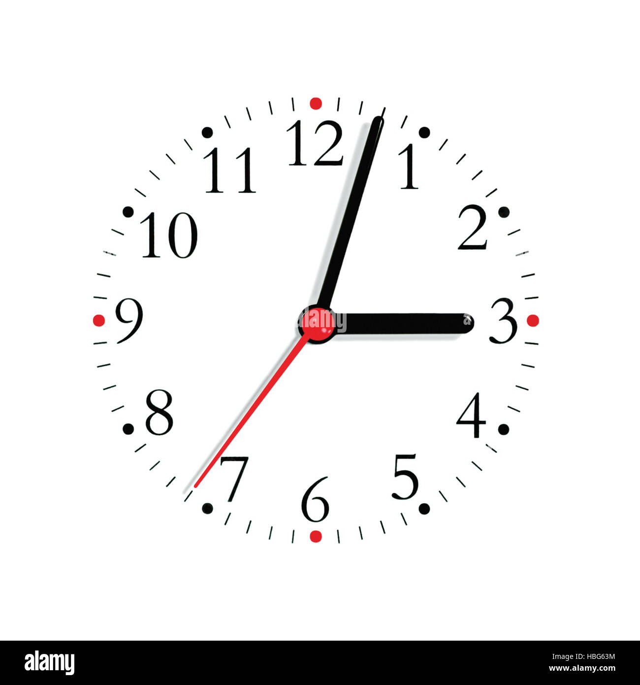 Analogue clock face dial in black and seconds hand in red at 3:03, isolated macro closeup - Stock Image