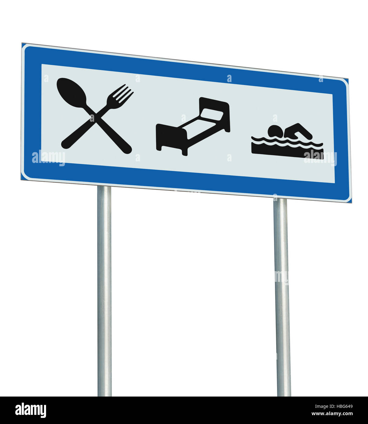 Parking Lot Road Sign Isolated, Restaurant, Hotel Motel, Swimming Pool Icons, Roadside Signage Pole Post, Blue, - Stock Image