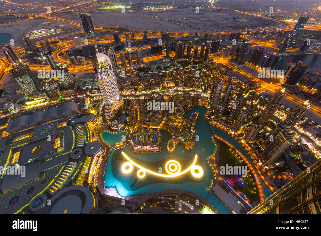 View from Burj Khalifa observation deck, Dubai Fountain, The Address Downtown Burj, Dubai Mall and Souk Al Bahar, - Stock Image