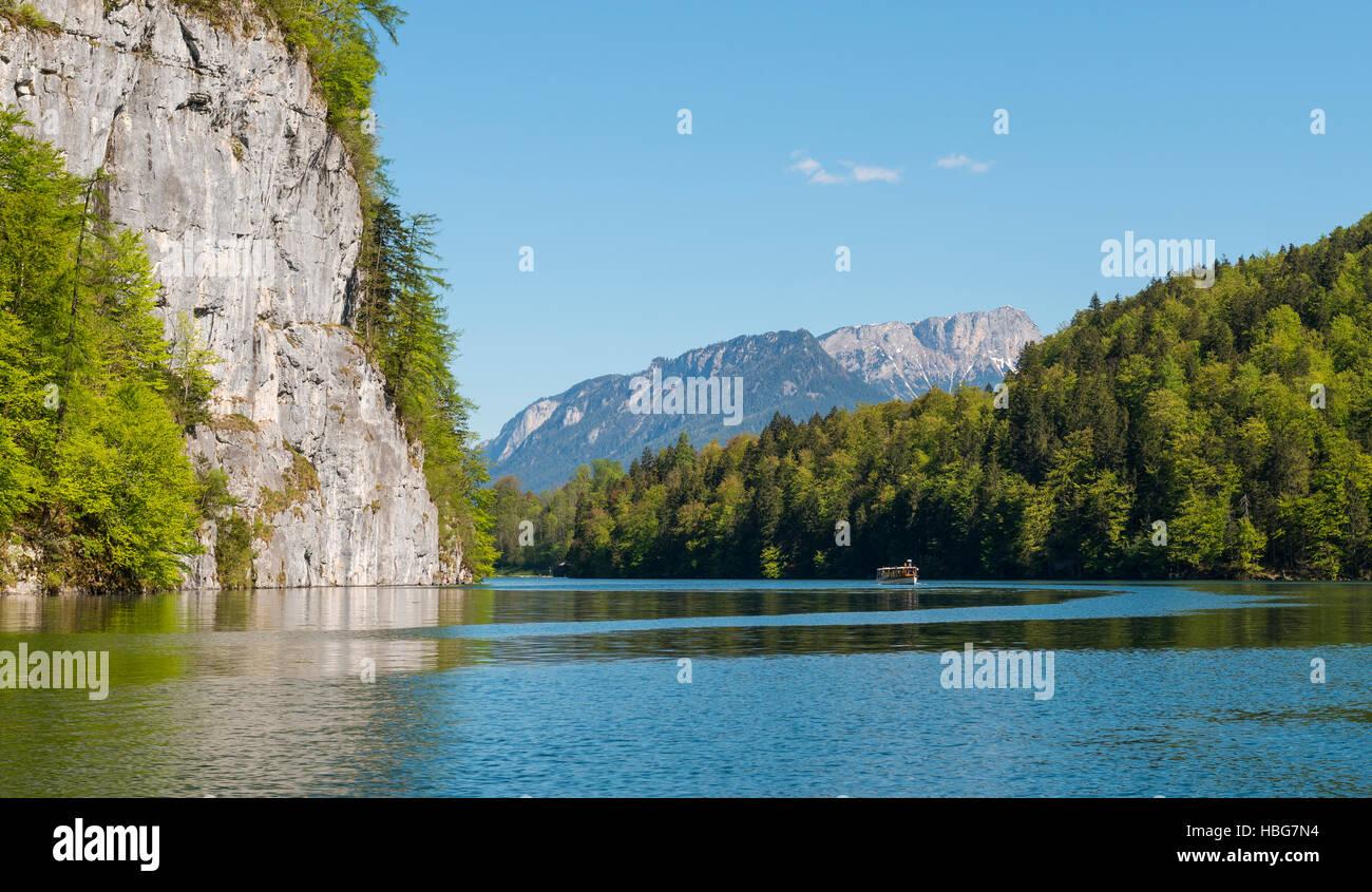 Echowand am Königssee, echo wall, Berchtesgaden National Park, Berchtesgaden District, Upper Bavaria, Bavaria, - Stock Image