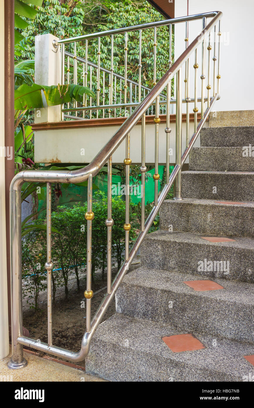 Steel Railing On A Stone Staircase   Stock Image