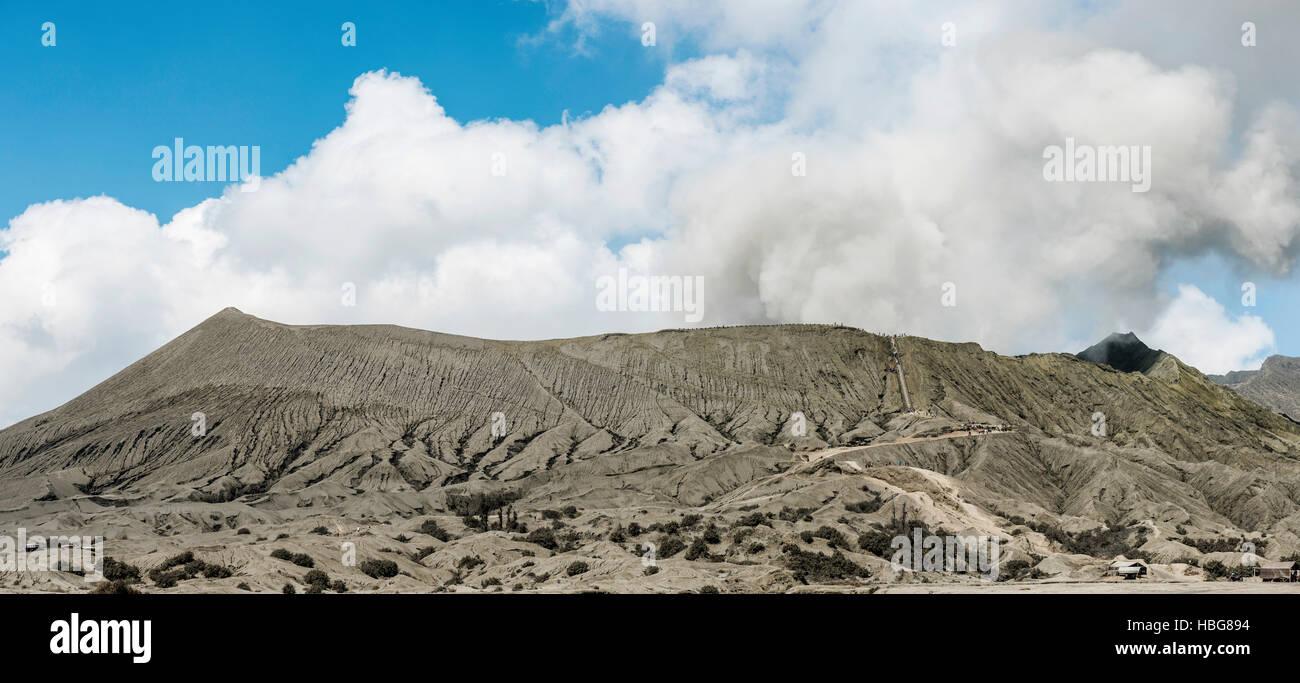 Crater, vent, smoking volcano, Mount Bromo, Bromo Tengger Semeru National Park, East Java, Indonesia - Stock Image
