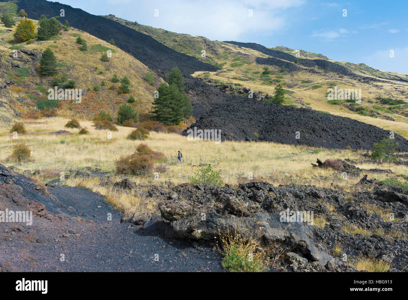 Hiking through lava fields of 1787, lava fields of 1983, Mount Etna, Sicily, Italy - Stock Image