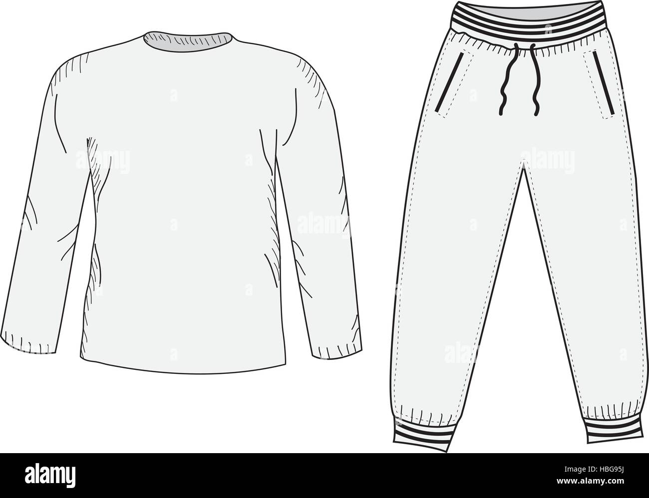 Jacket and sweatpants. Tracksuit, sketch set. Things in the style of hand drawing. Sportswear. Sports Mockup suit. - Stock Vector