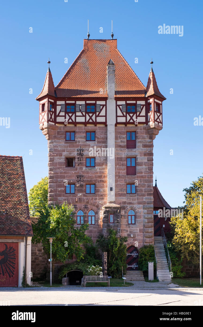 Scots Tower in Burg Abenberg, Franconian Lake District, Middle Franconia, Franconia, Bavaria, Germany - Stock Image