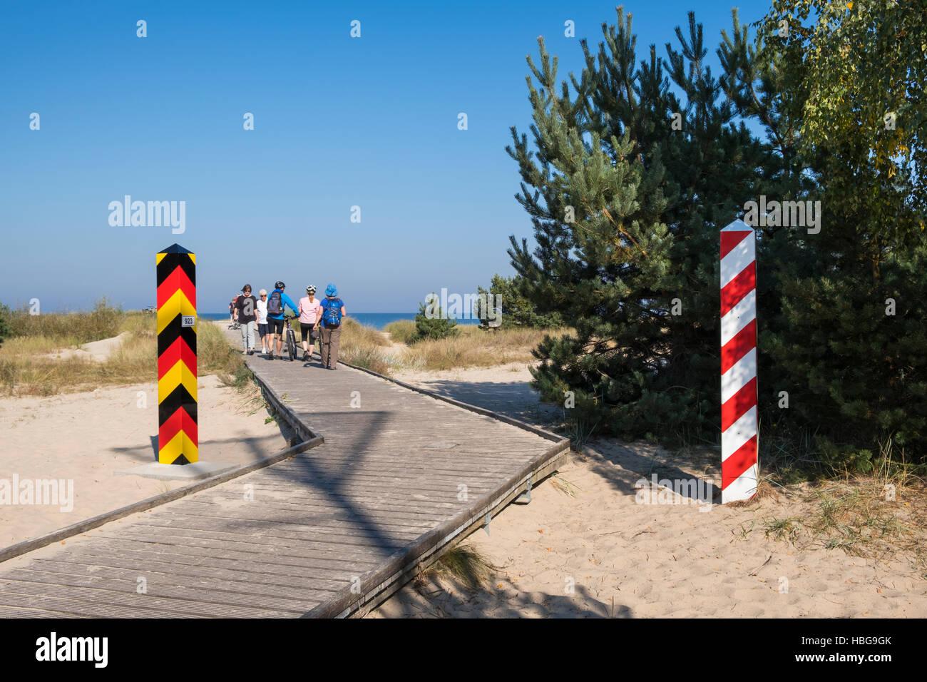 Boardwalk to Baltic Sea beach, Poland-Germany border crossing, Baltic Coast, Ahlbeck, Usedom, Mecklenburg-Western Stock Photo