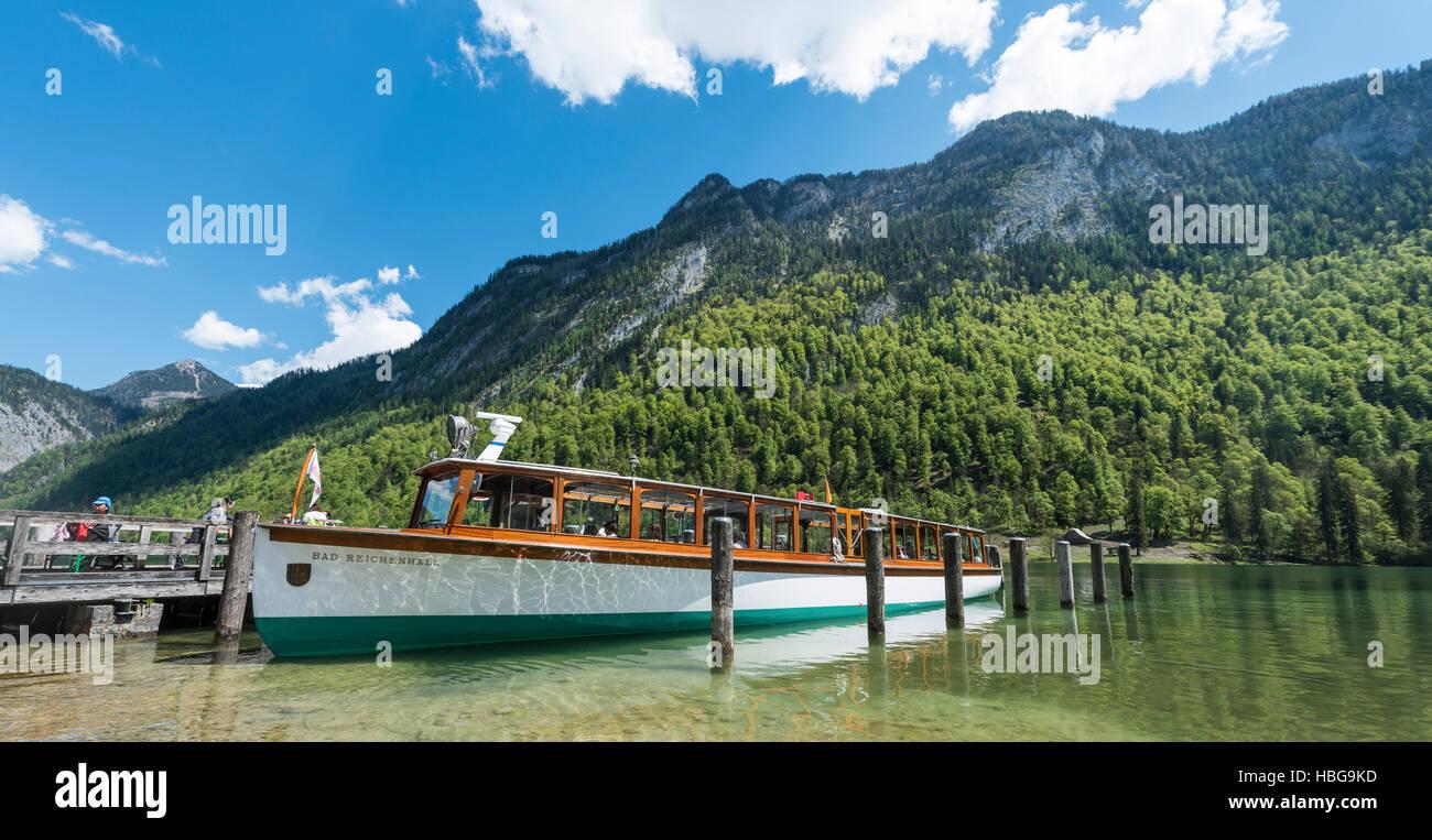 Jetty, St. Bartholomew's, Schifffahrt Königssee, Lake Königssee, Berchtesgaden National Park, Berchtesgadener - Stock Image