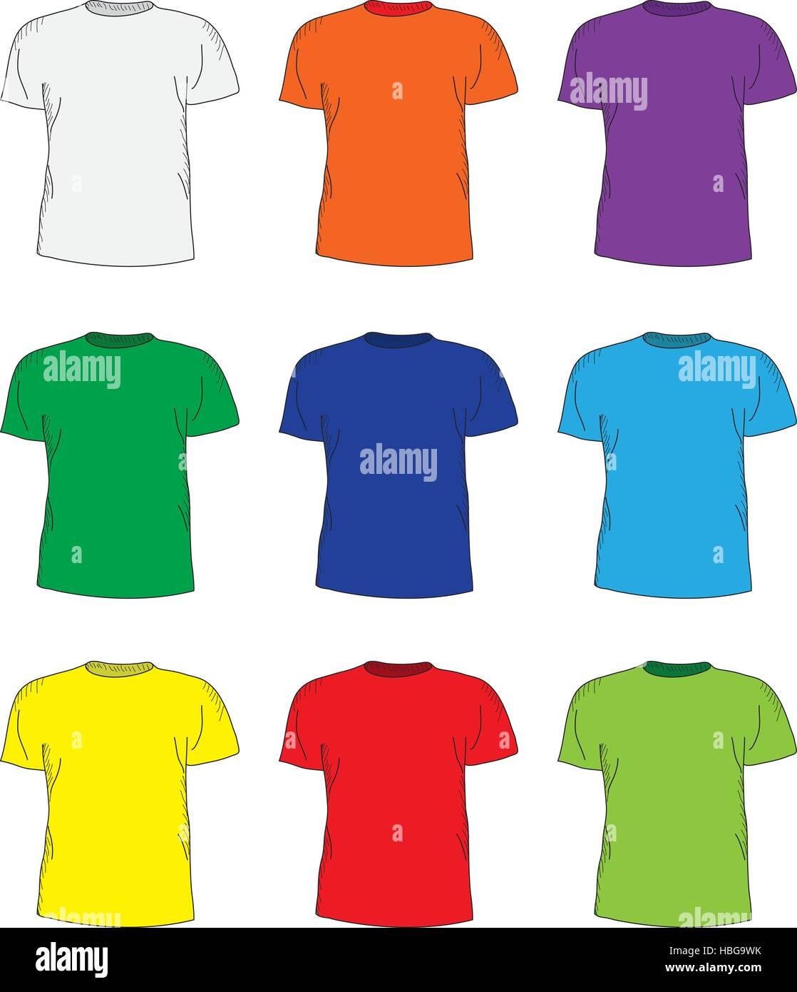 Men\'s t shirts design template set. Multi-colored T-shirts Stock ...
