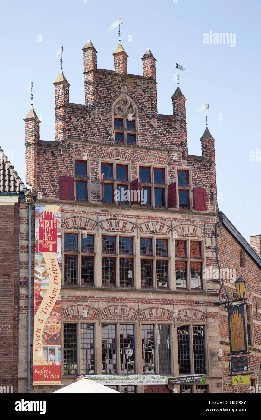 Gable, Gothic House, Restaurant, Xanten, Lower Rhine, North Rhine-Westphalia, Germany - Stock Image