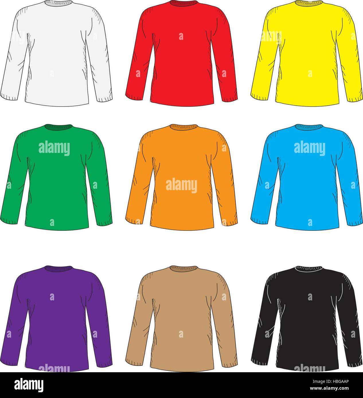 Mens T Shirts Design Template Set Multi Colored T Shirt With Long