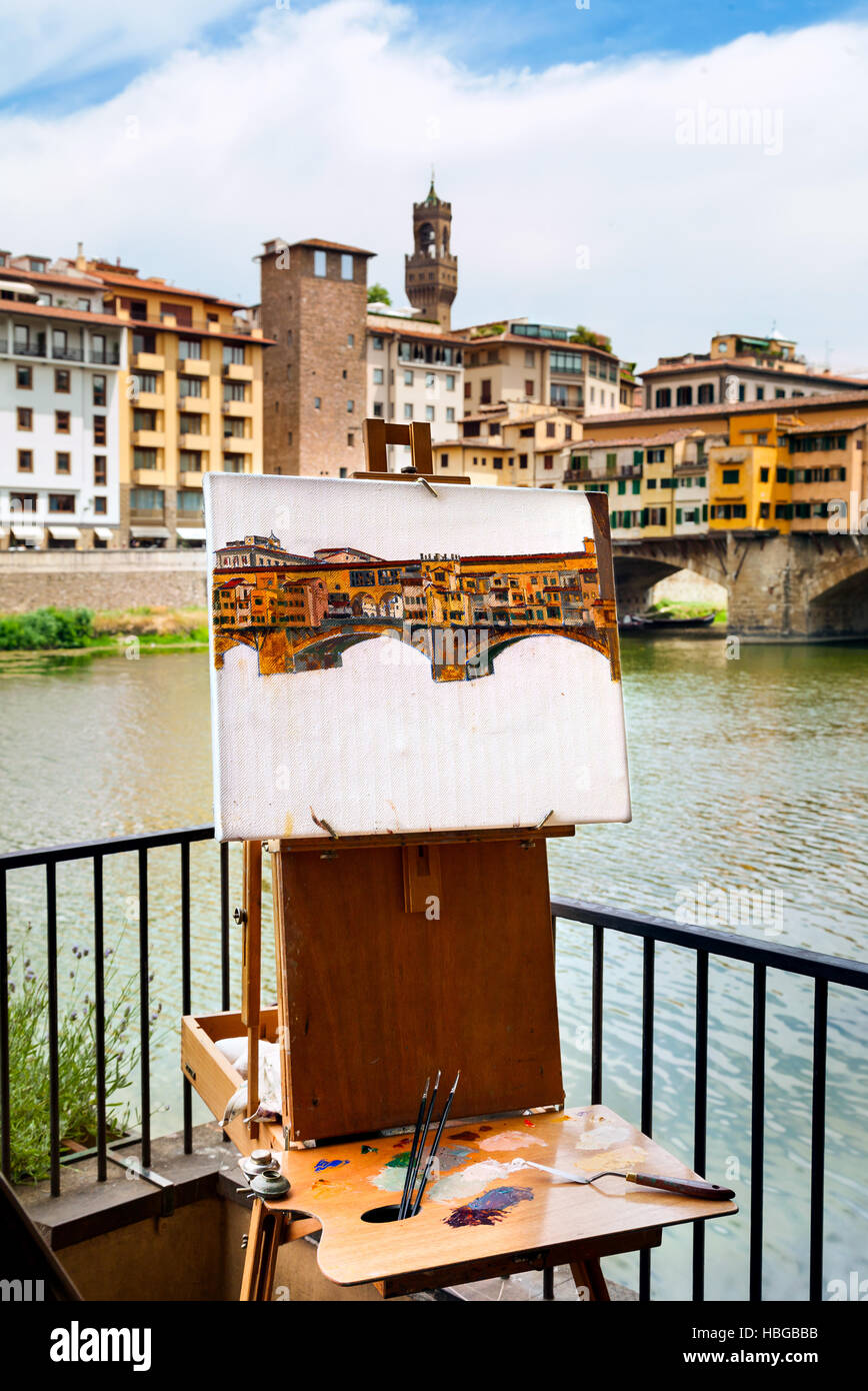 Historic Ponte Vecchio in Florence, Italy. - Stock Image