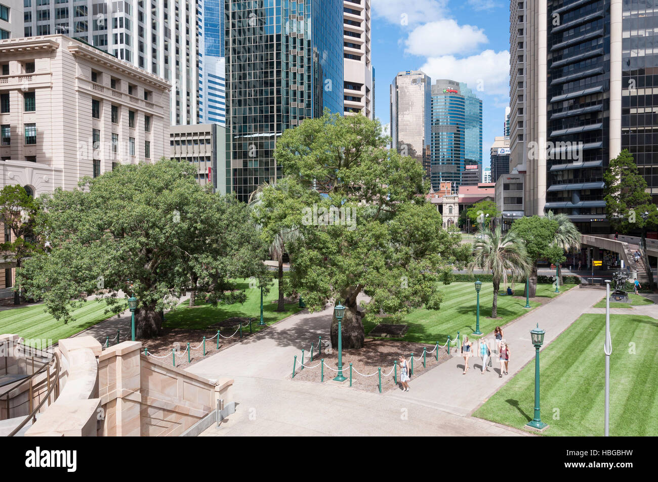 Anzac Square and CBD buildings, Brisbane City, Brisbane, Queensland, Australia - Stock Image