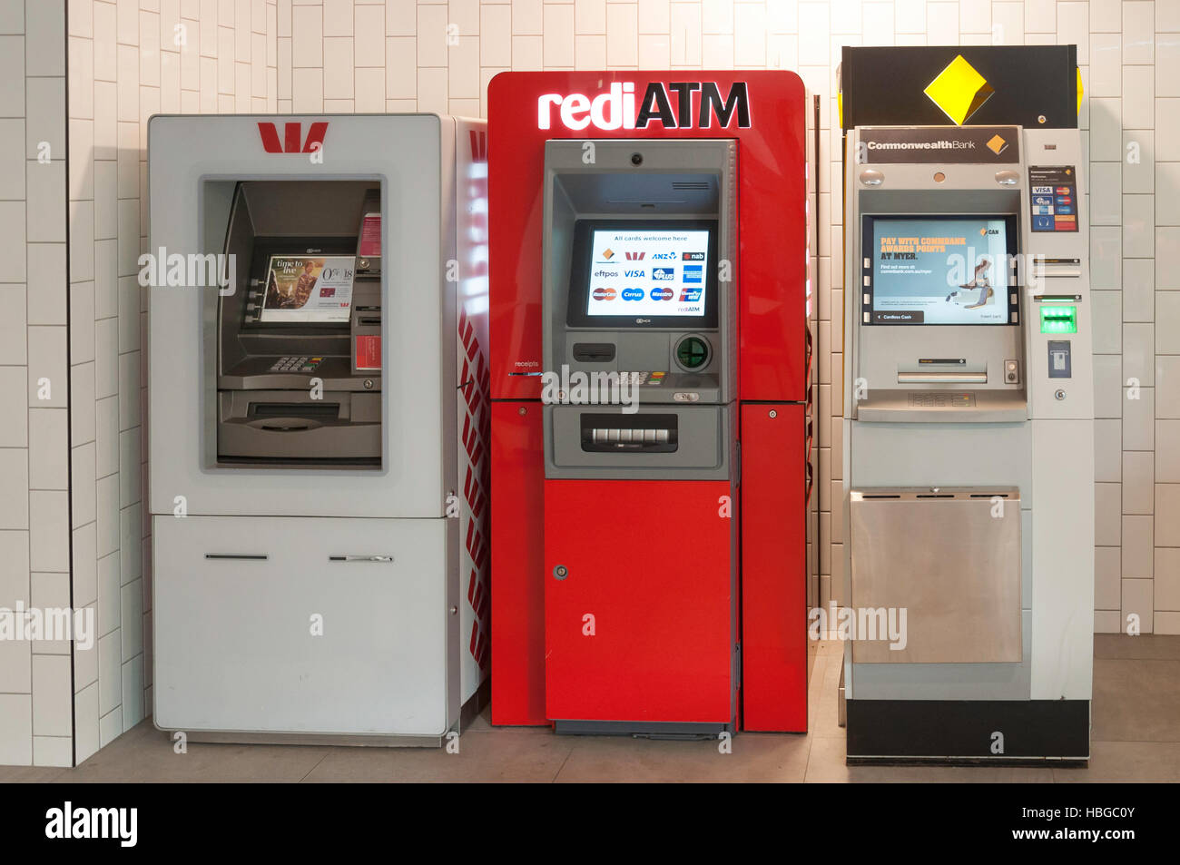 ATM machines in Central Business District, Railway Square, Brisbane City, Brisbane, Queensland, Australia - Stock Image