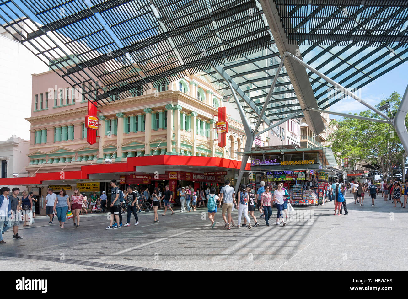 Queen Street Mall, Brisbane City, Brisbane, Queensland, Australia - Stock Image