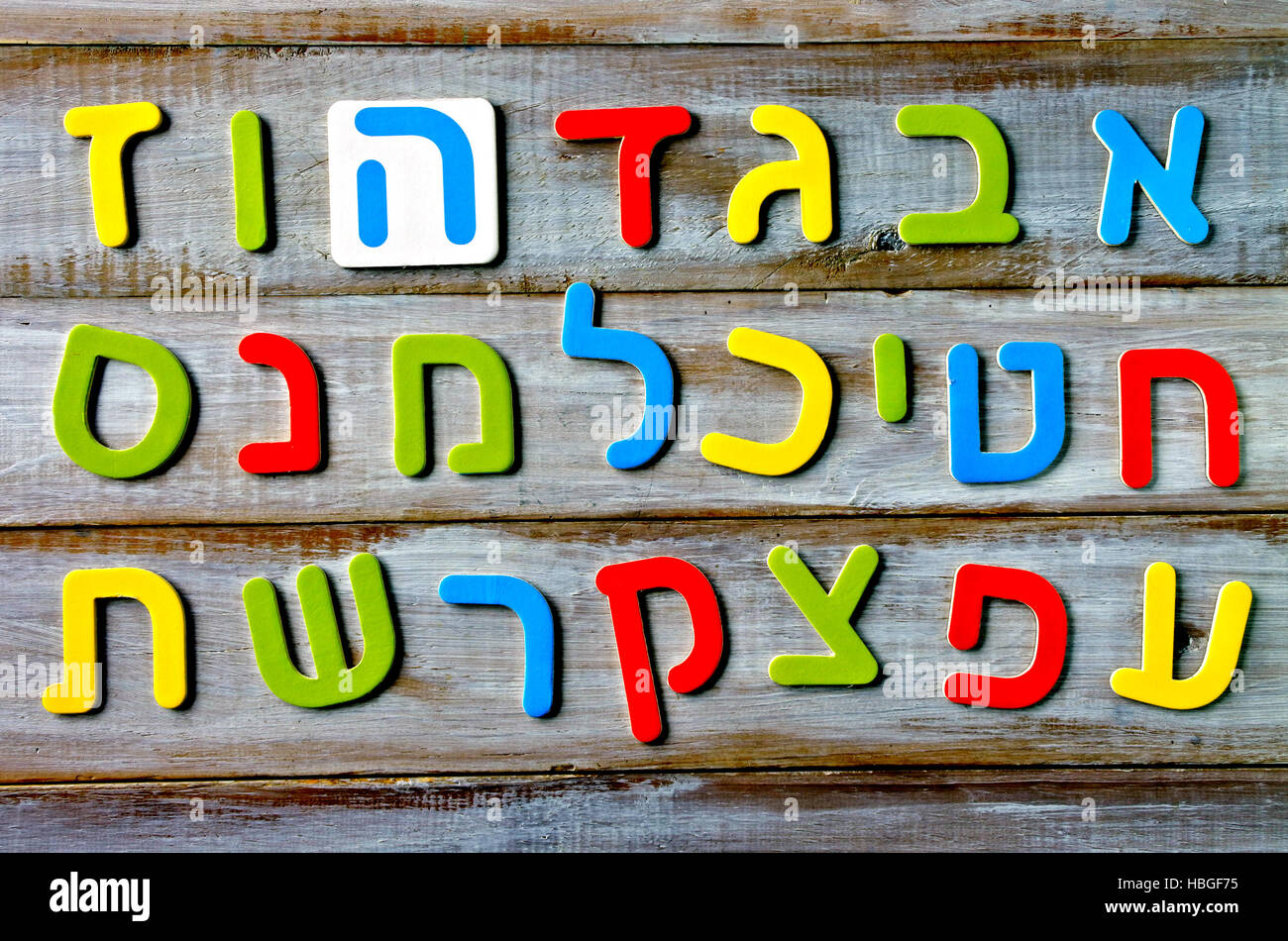 Hebrew alphabet letters and characters background. Foreign language education concept - Stock Image