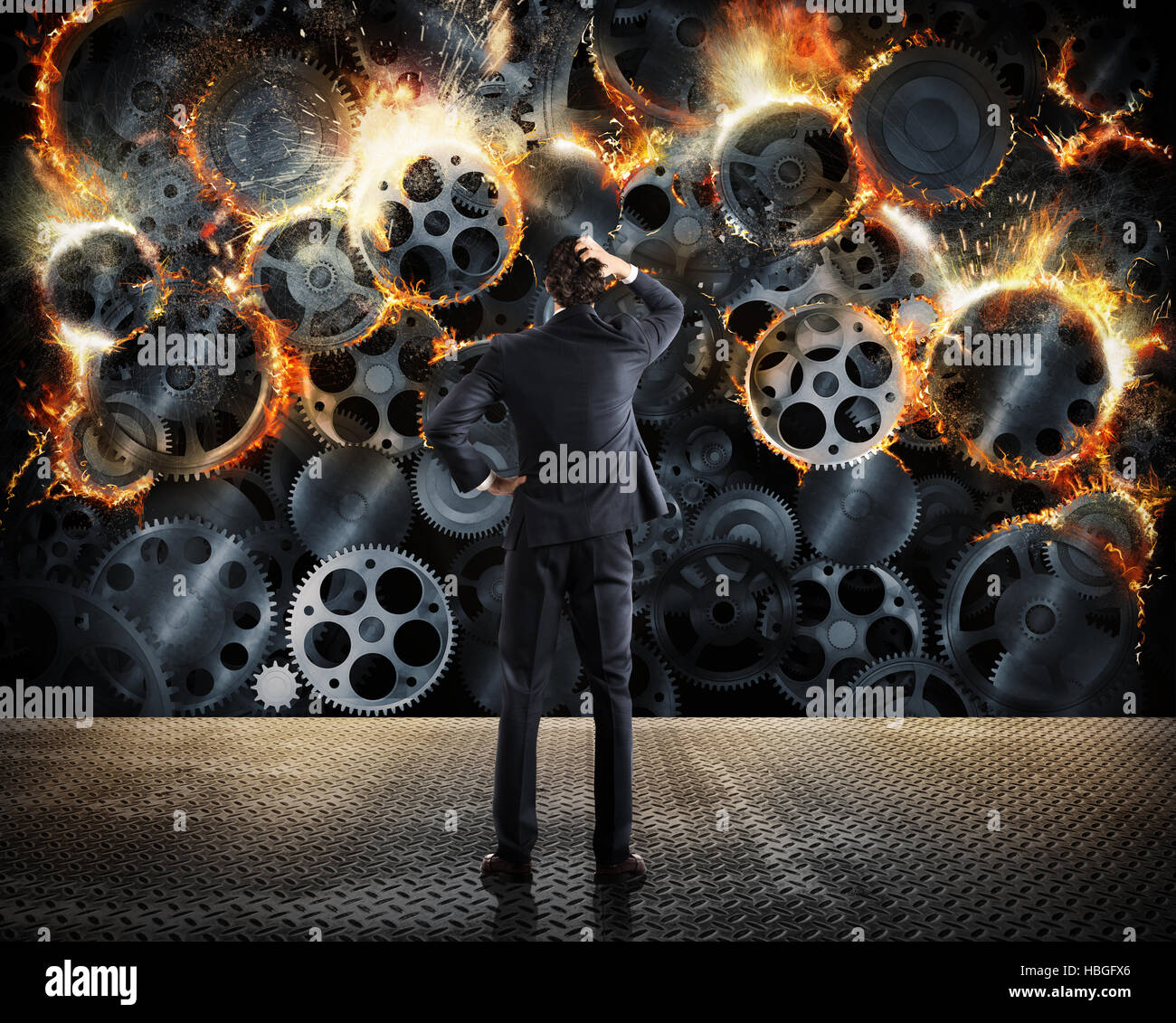 Worn system business problems - Stock Image