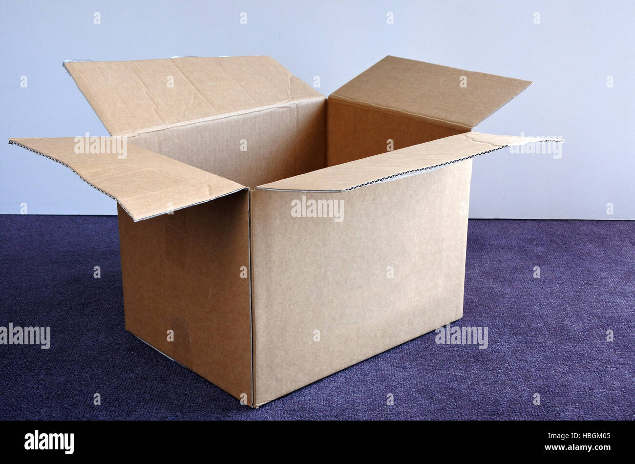 An empty open cardboard box on a carpet and against a wall. Moving to a new place concept. copy space - Stock Image